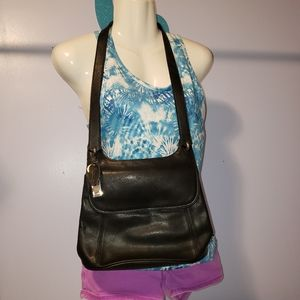 Rolfs black leather shoulder bag